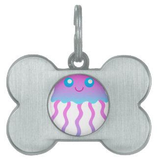 cute pink blue jelly fish pet ID tag