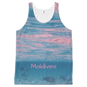 Beach Themed Cute Pink Blue Maldives Ocean Waves Souvenir All-Over-Print Tank Top