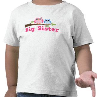 Cute Pink Blue Owl Branch Big Sister T-shirt