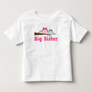 Cute Pink Blue Owl Branch Big Sister T Shirts