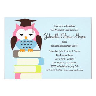Cute Pink/Blue Owl   Graduation Party Invite
