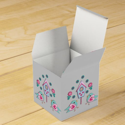 Blue Lightning Favor Boxes : Cute pink blue shabby chic birds and bird house favor box