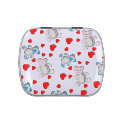 Cute Pink Blue Teddy Bears Red Love Hearts Pattern Jelly Belly Candy Tins