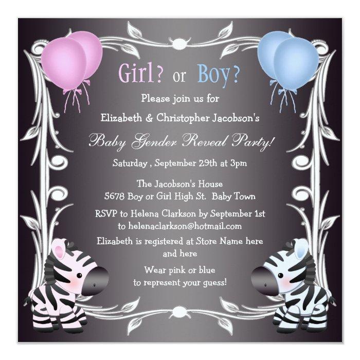 Cute Pink & Blue Zebras Baby Gender Reveal Shower Card