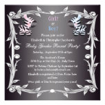 Cute Pink & Blue Zebras Baby Gender Reveal Shower Custom Announcements