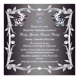 Cute Pink & Blue Zebras Baby Gender Reveal Shower 5.25x5.25 Square Paper Invitation Card