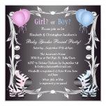 "Cute Pink & Blue Zebras Baby Gender Reveal Shower 5.25"" Square Invitation Card"