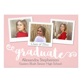 Cute Pink Blush Brushed 3 Photo Graduation Card