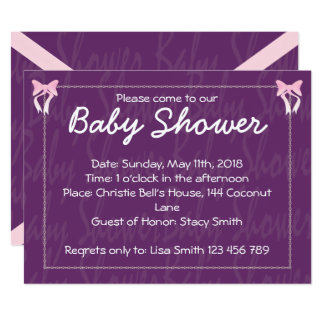 Cute Pink Bow Baby Girl Shower Purple Invitation