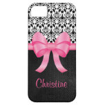 Cute Pink Bow On Black Damask And Leather & Name iPhone 5 Covers