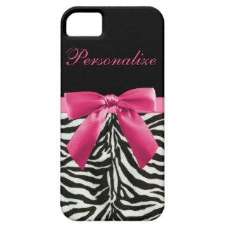 Cute pink bow on zebra pattern personalized iPhone SE/5/5s case