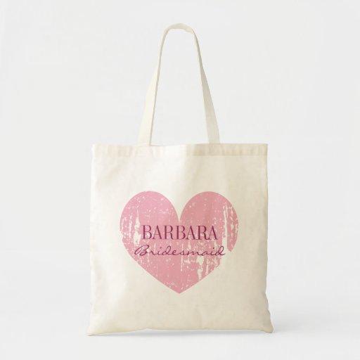 Cute pink bridesmaid tote bags | vintage heart canvas bags