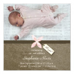 "Cute pink brown baby girl photo birth announcement 5.25"" square invitation card"