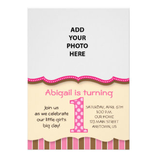 Cute Pink/Brown Girls First Birthday Personalized Invites