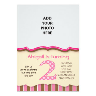 Cute Pink/Brown Girls Second Birthday Card
