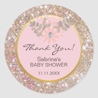 Cute Pink, Brown, Glitter Gold Baby Shower - Girls Classic Round Sticker