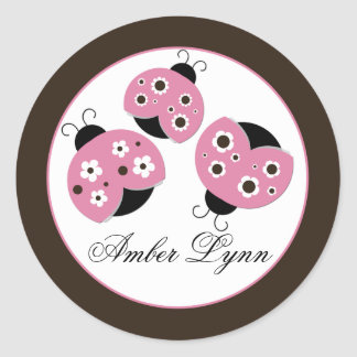 Cute Pink & Brown Ladybugs Classic Round Sticker