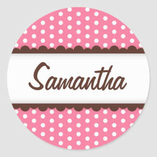 Cute pink brown polka dots name tag for girls classic round sticker
