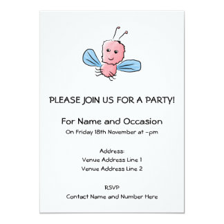 Cute Pink Bug Flying Insect 5x7 Paper Invitation Card