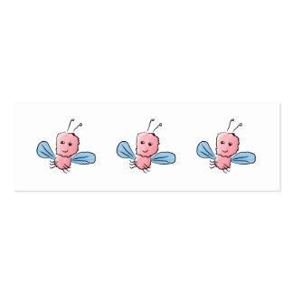 Cute Pink Bug Flying Insect Double-Sided Mini Business Cards (Pack Of 20)