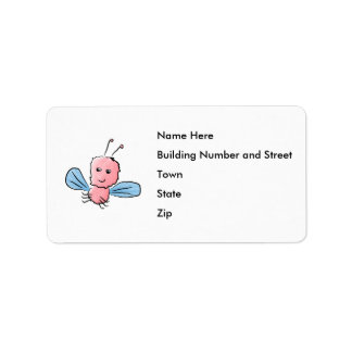 Cute Pink Bug Flying Insect Address Label