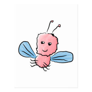 Cute Pink Bug Flying Insect Postcard