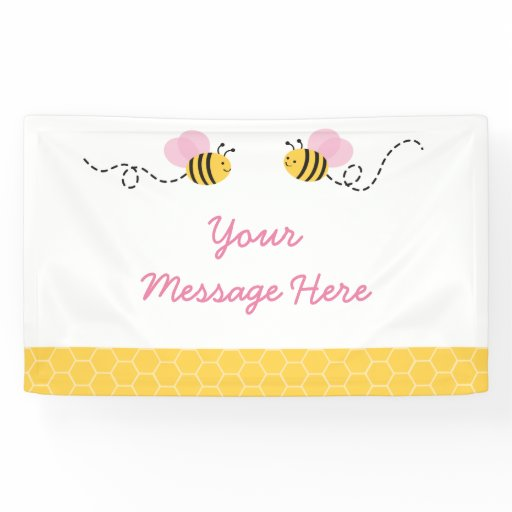 Cute Pink Bumble Bee Baby Shower Banner