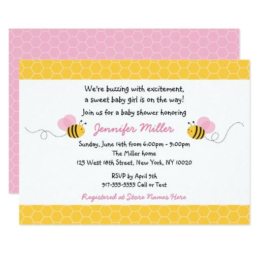 Cute Pink Bumble Bee Baby Shower Card