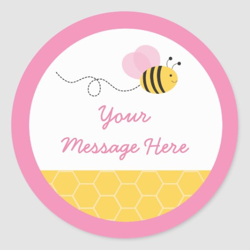 Cute Pink Bumble Bee Baby Shower Classic Round Sticker