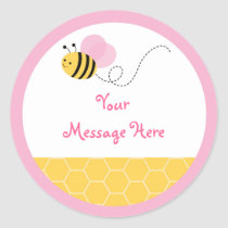 Cute Pink Bumble Bee Stickers