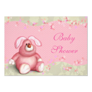 Cute Pink Bunny Baby Shower Card