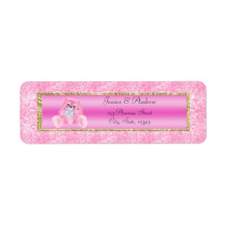 Cute Pink Bunny Baby Shower Label