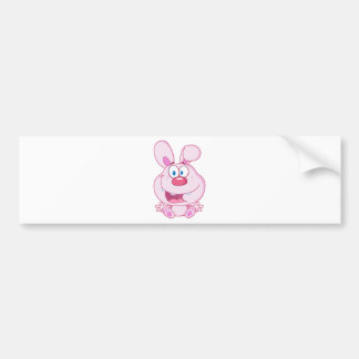 Cute Pink Bunny Cartoon Character Bumper Stickers