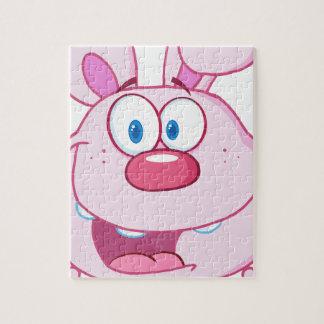 Cute Pink Bunny Cartoon Character Puzzles