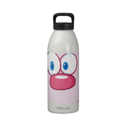 Cute Pink Bunny Cartoon Character Drinking Bottles