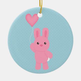 Cute Pink Bunny Ceramic Ornament