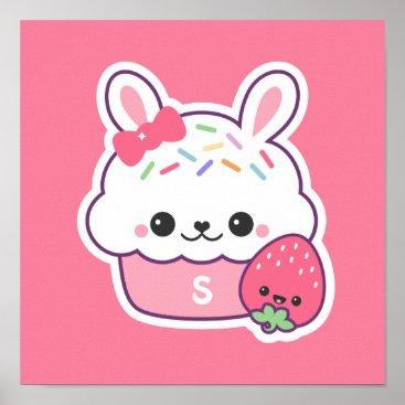 Art Themed Cute Pink Bunny Cupcake Monogram Poster