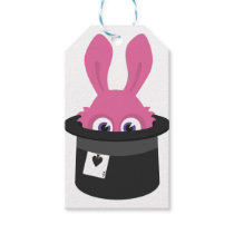 Cute pink bunny for Happy Easter Gift Tags