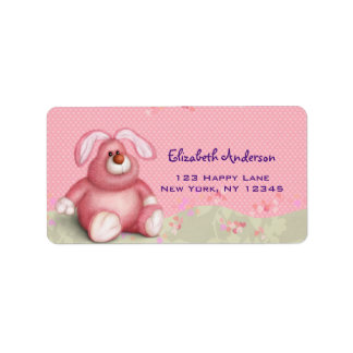 Cute Pink Bunny Image with Hearts and Foliage Label