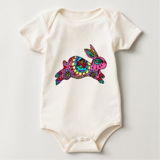 Cute Pink Bunny  Kaleidoscope Bunny Baby Bodysuit