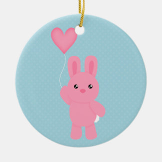 Cute Pink Bunny Double-Sided Ceramic Round Christmas Ornament