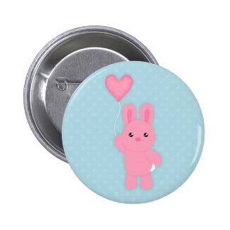 Cute Pink Bunny Pinback Button