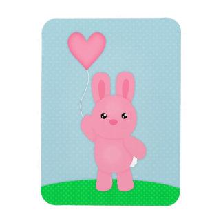 Cute Pink Bunny Rectangular Photo Magnet