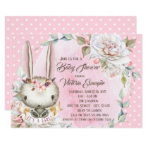 Cute Pink Bunny Rabbit Baby Shower Invitations