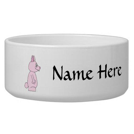 Cute Pink Bunny Rabbit Dog Food Bowl