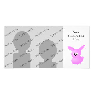 Cute Pink Bunny Rabbit. Photo Greeting Card