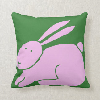 Cute Pink Bunny Rabbit with Long Ears on Green Pillow