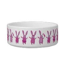 Cute Pink Bunny Rabbits Food Bowl