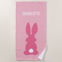 Cute Pink Bunny Silhouette Girls Personalized Beach Towel