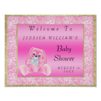 """Cute Pink Bunny """"Welcome"""" Poster"""